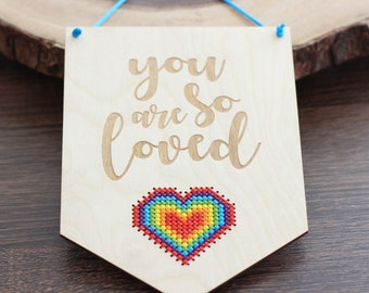 Heart Cross Stitch Kit -  Rainbow Heart Modern Cross Stitch DIY Kit - Easy Beginner Cross Stitch Kit with Wood Disc - Craft Kit for Nursery