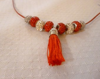 Dreamlike necklace in red and silver