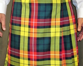 Modern Buchanan Tartan Plaid Kilt~Hiking Kilt~GreenYellow  Men's Kilt~Scottish Irish Plaid~Highland Games Sport's wedding Kilt@sohoskirts