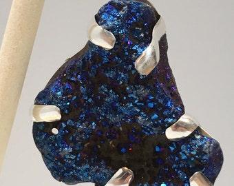 925 Sterling Silver Blue Druzy Pendant, Druzy Crystal Pendant 26.5 Grams.