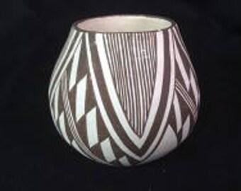 Native American Vintage Mini Acoma Pottery by M. (Miranda)  Leno, Ca 1960's, #1228