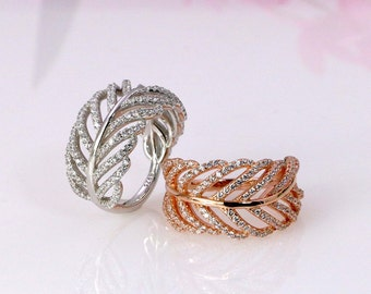 Sterling Silver Leaf Band Ring - Silver Leaves Wedding Band - Wide Bands - Cubic Zirconia Ring