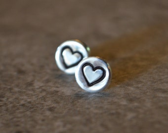 Heart Earrings Reclaimed Sterling Silver Hand Stamped Sterling Silver Posts Eco Friendly Love Mother Daughter Lover's Gift Jewelry