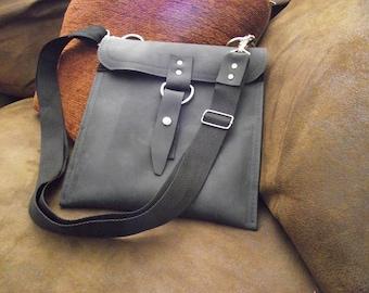 Leather iPad Bag - Classic Black Slim Traveler Bag