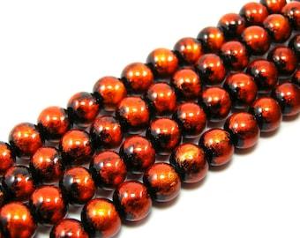 Set of 20 glossy 8 mm glass beads orange