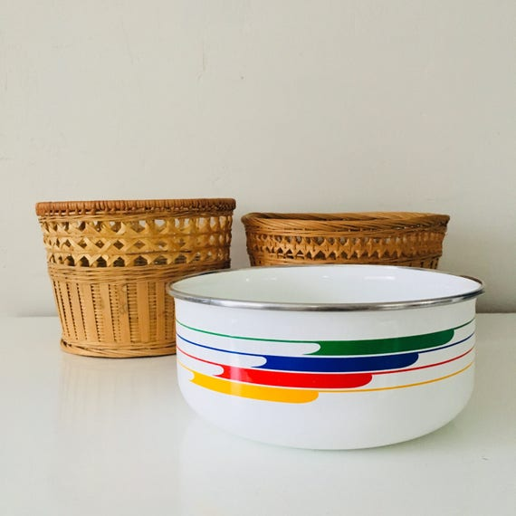 Vintage Studio Nova Metal Bowl White Mid Century Modern Enamel Colorful Striped Metal Container