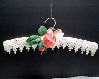 Gorgeous decorated padded hanger with life like rose and dripping lace trim for lingerie or lightweight clothing