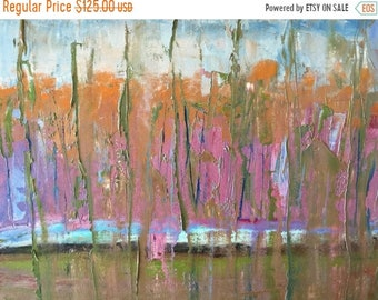ON SALE Art and collectibles, abstract,  oil landscape painting with palette knife, wall candy, modern impressionist, oil painting on paper,