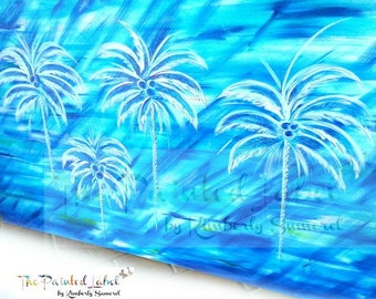 Palm Tree Art, Original Painting, Coastal Art, Coastal Wall Art, Coastal Painting, Palm Tree Painting. Blue Painting, Beach Art,