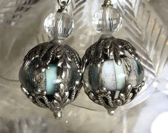 Artisan Lampwork,Silverplate,and Crystals  Ooak Artisan Jewelry AQUAEYES