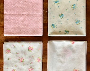 4 Floral Vintage Sheet Fat Quarters