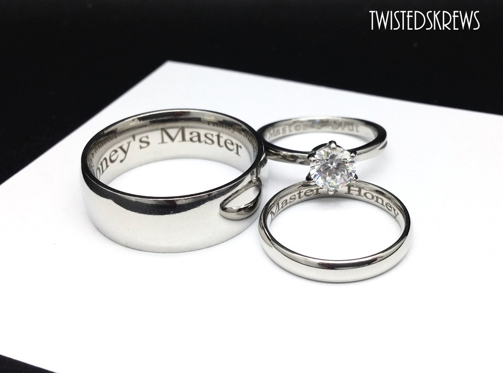 MATURE BDSM ENGRAVED couples 3 piece wedding rings set dom sub