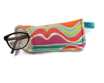 Fabric Eyeglass Case, Reading Glasses case, Eyeglass pouch, Rainbow Eyeglasses Cases, Eyewear case, Colourful pouch, Unique Gift for Her