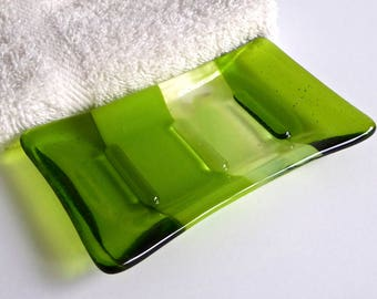 Fused Glass Soap Dish in Spring Green by BPRDesigns