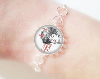 Bracelet fine silver with 18 mm cabochon * I am * (040218)