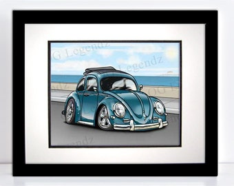 VW Ragtop Bug (Beetle), Art Print - An Original EXCLUSIVE Volkswagen Design by Og Legendz... Slammed Type 1 Volkswagen Bug