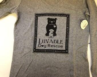 Grey Long Sleeve V-Neck T-Shirt