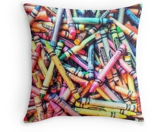 Crayon Art, Colorful Kids Room Pillow, Crayons Print, Children's Room Print, Play Room Print, Kindergarten Art, Childrens Room Decor, Crayon