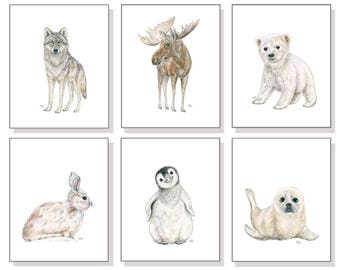 Arctic Nursery Art Polar Nursery Art Neutral Nursery Art Prints Arctic Animal Watercolor Polar Bear Penguin Seal Bunny Wolf Moose Set of 6.