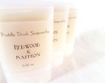 Redwood & Saffron Solid Perfume - Natural, long lasting personal fragrance scented with redwood, coconut, jasmine and saffron