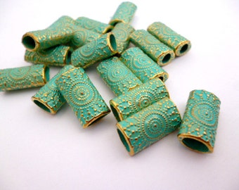 Large Hole Aged Golden Metal Beads_PA022014473_Gold Aged Patina Tube Connector_of 14x8 mm_pack 20 pcs