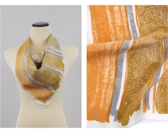 Vera Neumann Scarf - Gold and Grey Brushstrokes - Vintage 1980s Square Vera Scarf