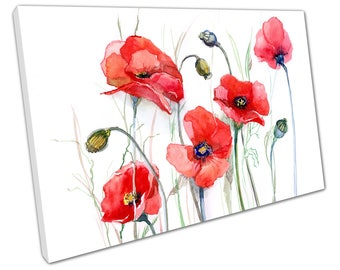 print on canvas  Flowers Watercolour Big Red Poppies Illustration Art - X1369