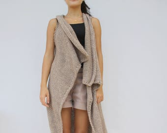 Light Brown Hand-Knitted Long Vest / Cappuccino Oversized Knit Vest / Long Knit Top / Outdoors Gift / Gift For Women / Mother's Day Gift