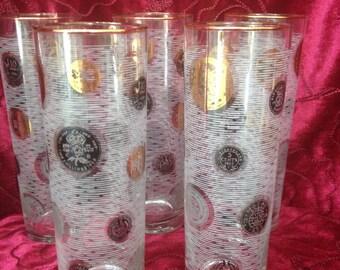 Libby Medallion Glasses, Set of 5 Collins Medallion Glasses by Libby