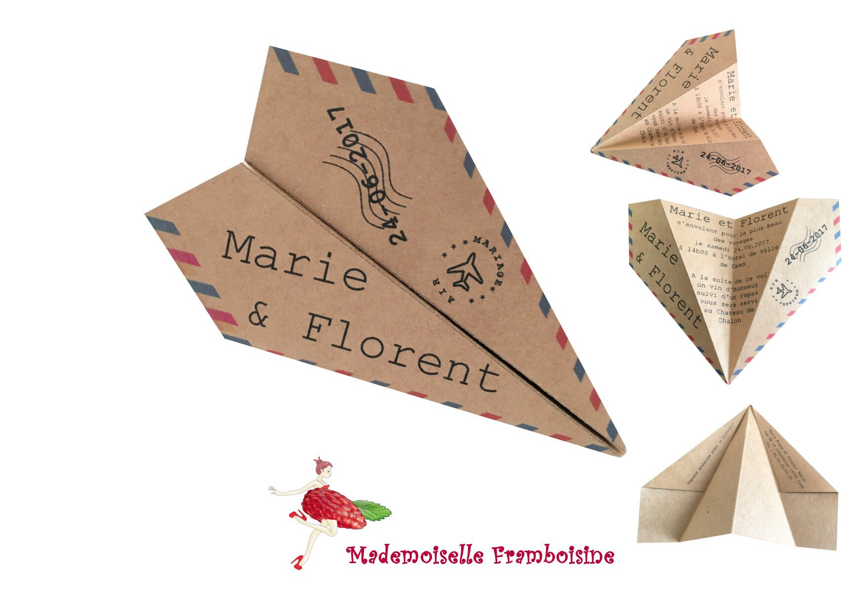 Origami Plane Natural Personalized Kraft Wedding Invitation