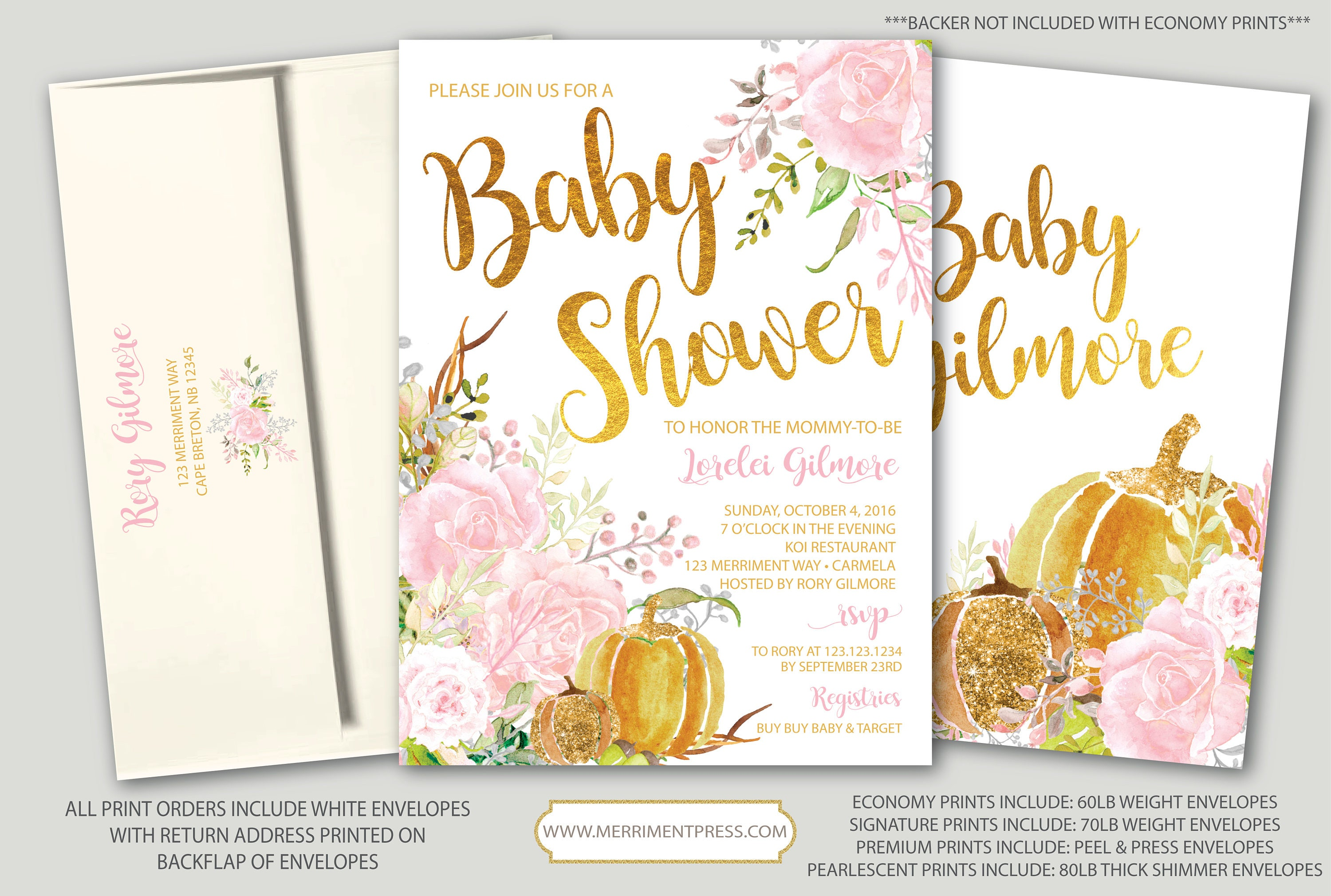 Fall Baby Shower Invitation // Pumpkin Baby Shower // Floral // Pink ...
