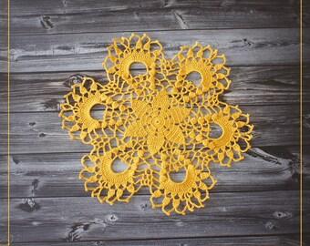 Little crochet doily, yellow crochet doily 10,6'' ,
