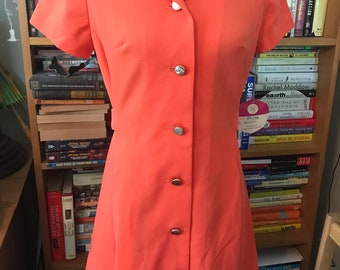 1960's/1970's  Polyester Button Front Dress by R&K Knits - With Tag!