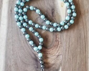 Light blue and gunmetal gray pearl beaded lanyard