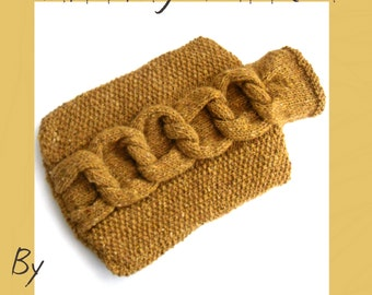 Knitting Pattern for hot water bottle cover , cosy with feature cable knots , pdf download instructions , cosy knit , christmas gift