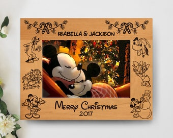 Christmas Disney Picture Frame, Personalized Frame, 5x7 Frame, Disney Trip/Vacation Frame, Mickey's Very Merry Christmas, Christmas Gift