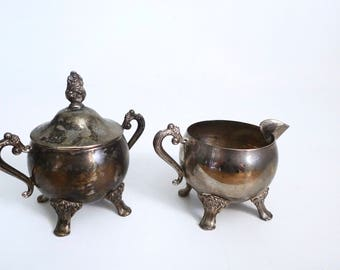 Tarnished Silver Plate Footed Creamer and Sugar Set - Vintage Silver Creamer and Sugar - Bohemian Chic - Floyd Jones Vintage