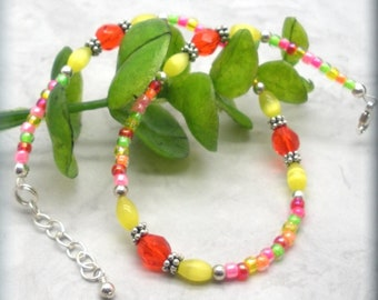 """Tropical Multicolored Anklet, Sterling Silver, Colorful Ankle Bracelet, Adjustable, Beaded Anklet, 10"""" - 11"""" Long, Beach Jewelry, Vacation"""