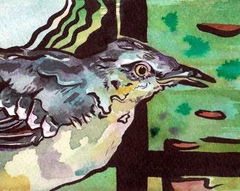 Arkansas's State Bird - Original Watercolor Painting of a Mockingbird - Bird Art by Jen Tracy