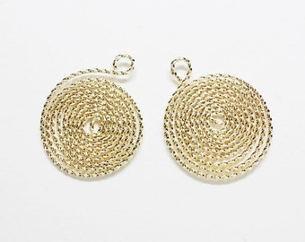 P0806/Anti-tarnished  Gold Plating Over Steel/Flexible Circle Maze Pendant/31x25.5mm/2pcs