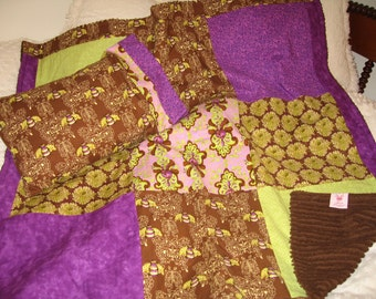 SALE!!  Pillow & Blanket (Quilt-top) Set, Kids - Grape Purple, Lime Green, Chocolate Brown, Chenille Back