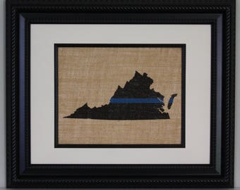 POLICE Gift - Thin Blue Line across ANY US State, State Police, Law Enforcement, Deputy, State Trooper - Home Decor on Burlap