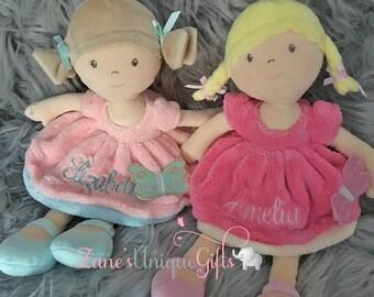 Personalised Rag Doll / Custom Rag Dolls / Embroidered Dolls / New baby girls gift / birthday or baby shower gift / baby girl / handmade