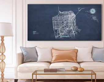 SAN FRANCISCO Canvas Map Panoramic Wall Art Chalkboard City Map Canvas Poster