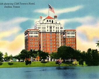 Dallas Texas Lake Cliff & Cliff Towers Hotel Vintage Postcard (unused)