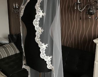 Lace Fingertip Veil, Lace Wedding Veil, Wedding Veil, Lace chantilly veil Fingertip, Fingertip Veil, Lace Bridal Veil, ivory fingertip veil