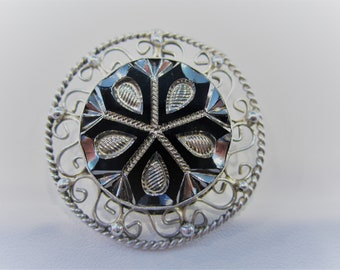 Vintage Sterling Silver Mexican Filigree Brooch Pin, Marked IAPP Mexico .925, Sterling Silver Pendant Brooch, Gifts