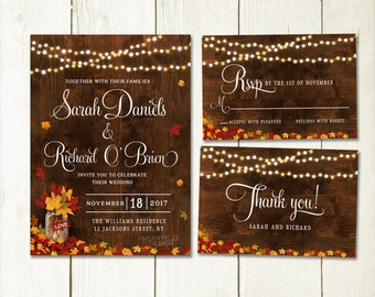 Rustic Fall Wedding Invitation Set, Fall Invitation, Autumn wedding, Autumn leaves rustic fall wedding set, Digital file, Printable