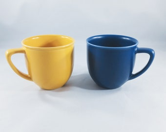 Two Vintage Blue And Yellow Ceramic Coffee Mugs/Tea/Drink Ware/Kitchen/