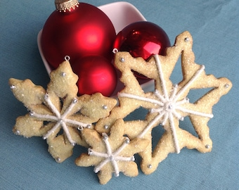 Snowflake Sugar Cookie Christmas Ornament, White Decoration, Vanilla Icing, Sparkle, Glitter, Faux , Fake Food, Snow & Ice, Winter